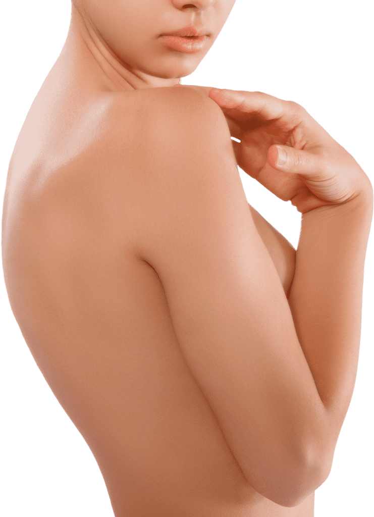 Plastic surgery breast augmentation - woman shoulder - breast implants